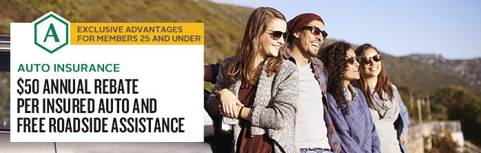 Auto insurance. $50 annual rebate per insured auto and free Roadside Assistance.