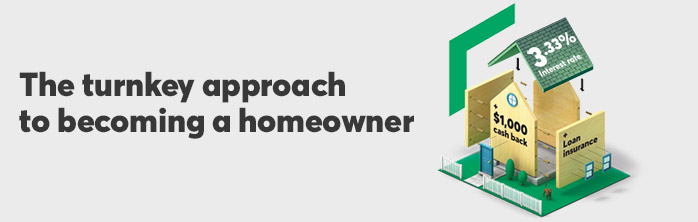 The turnkey solution to becoming a homeowner: 3.33% mortgage rate + $1,000 cash back + loan insurance. Learn more about mortgages.