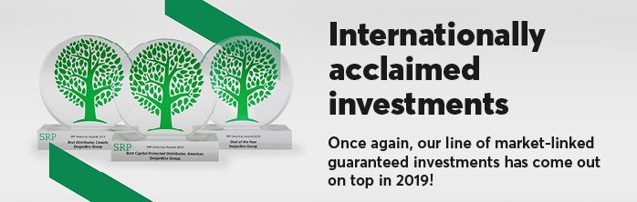 Internationally acclaimed investments. Once again, our line of market-linked guaranteed investments has come out on top in 2019!