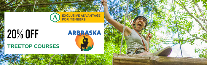 Exclusive offer for members: 20% off treetop courses at Arbraska. Expires October 31, 2017.