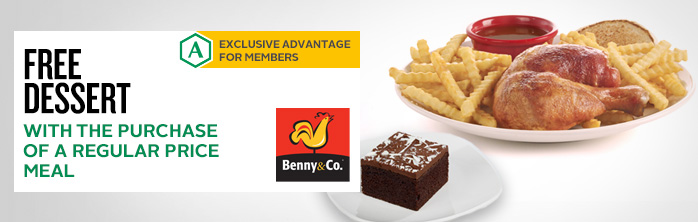 Exclusive offer for members: Free dessert with the purchase of a regular price meal
