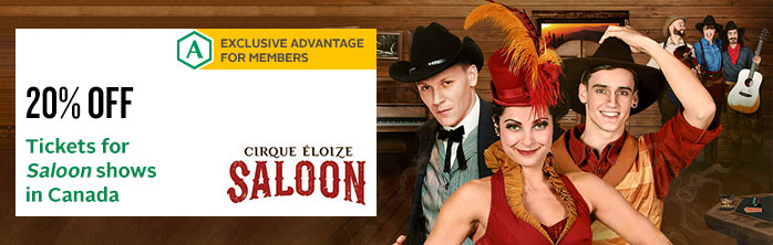Exclusive offer for members: 20% discount on tickets for Cirque Éloize's Saloon shows in Canada