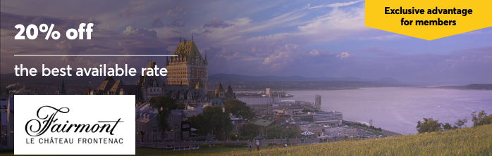 Exclusive advantage for members: Get 20% off the best available rate at Fairmont Le Château Frontenac. Expires June 23, 2021.