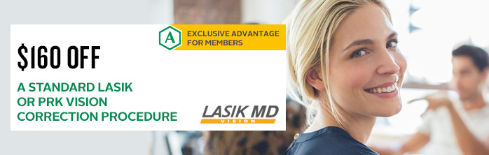 Exclusive offer from our partner Lasik MD for Desjardins members: $160 off a standard LASIK or PRK vision correction procedure