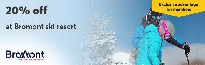 Exclusive offer for Desjardins members: 20% off the purchase of a full day or night ski ticket at regular rates.