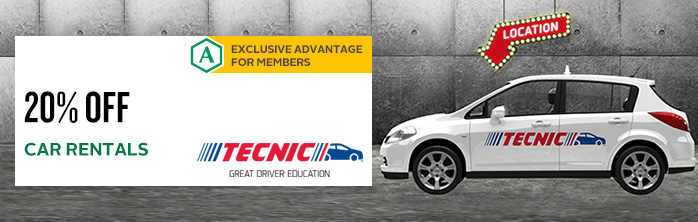 Exclusive offer for members from our partner Tecnic : 20% off your vehicle rental.