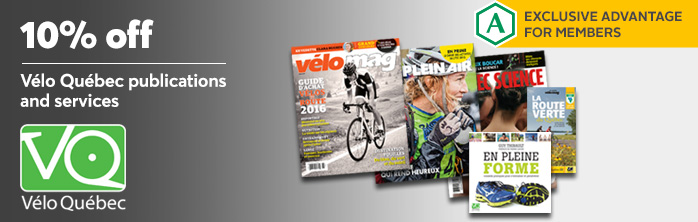Exclusive offer for members: 10% off Vélo Québec publications and services