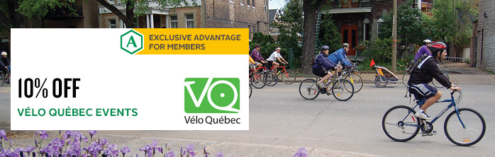 Exclusive offer for members: 10% off registration for Vélo Québec events