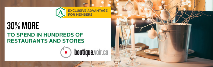 Exclusive offer for members: 30% more to spend in hundreds of restaurants and stores through Boutique Voir.