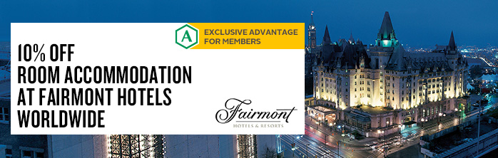 Exclusive offer for Desjardins members from our partner, Fairmont: 10% off room accommodation. Expires December 31, 2014.