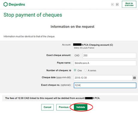 Stop payment | Desjardins