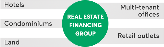 Real Estate Financing Group -Hotels -Multi-tenant offices -Condominiums -Land -Retail outlets