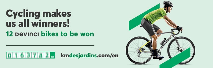 Cycling makes us all winners on kmdesjardins.com/en! Learn more about the Cycling Makes Us All Winners contest.