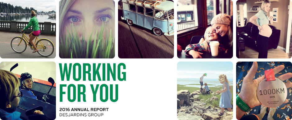 Working for you. 2016 Desjardins Group Annual Report.