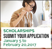 Scholarships, submit your application junuary 5 to february 20, 2017