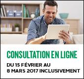 Consultation en ligne. Du 15 février au 8 mars 2017 inclusivement.