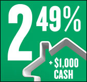 Limited-time mortgage offer: 2.49% and $1,000 cash.